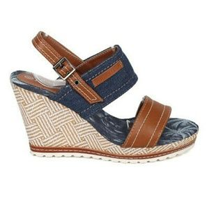 New Women's Jean-01 Blue Denim Wedge Sandals